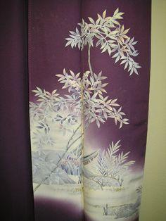 BOAT ROCK NANTEN Handpainted Vintage Japanese Silk Kimono, Handpainted Boat Nanten Rock Rich Purple Japanese Silk Kimono, Deep Purple Kimono