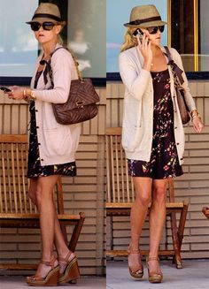 Reese Witherspoon | flora dress + long cardigan + wedge sandals + hat + low pony