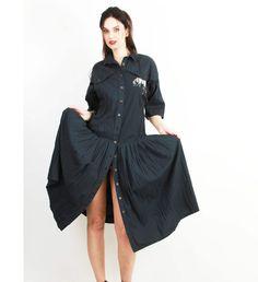 Black Long Dress / Cotton Dress / Vintage Dress / Baggy Dress / Casual Dress / 80s Novelty Dress Size L / XL by Ramaci on Etsy