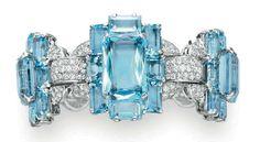 Cartier: An Art Deco Diamond and aquamarine bracelet, circa 1935.  Christie's.