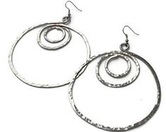 Huge Hand Hammered German Silver Hoops, Hand forged and textured. Awesome detail and a definite conversation starter. Big Earrings, Round Earrings, Silver Earrings, Hoop Earrings, Copper Rings, Silver Hoops, Statement Earrings, Fashion Earrings, Earrings Handmade