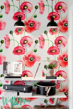 Transform any room in your home into poppy paradise with this self-adhesive vinyl WATERCOLOR POPPY pattern removable wallpaper!