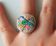 Bluetit Cross Stitch Ring. Inspiration for a similar pendant...