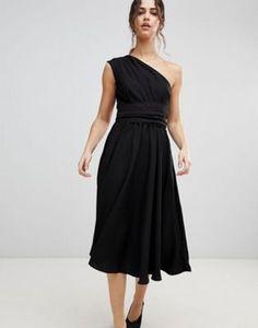 ASOS One Shoulder Tie Waist Midi Prom Dress