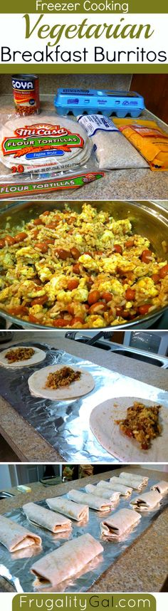 Vegetarian Breakfast Burritos for the Freezer. #freezercooking #oamc
