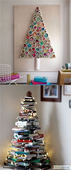 18 unconventional and beautiful diy christmas trees ideas to create unique christmas decorations for your - Library Christmas Decorations
