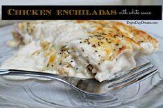 Chicken Enchiladas with white sauce. DaytoDayDreams.com