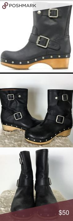"""Lucky Moto Boot Black Leather Lucky Brand brings retro-inspired style to the block-heeled boots with domed metallic studs lining the welt, and moto buckles.  Product Details: Leather in black Round-toe booties slip on; studded welt 2"""" heel Leather manmade sole Imported  Size and Fit: Size 8  Great Condition/Worn a few times Lucky Brand Shoes Ankle Boots & Booties"""