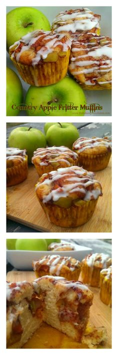 Country Apple Fritter Muffins – The Baking ChocolaTess (Pumpkin Chocolate Muffins) Apple Desserts, Köstliche Desserts, Apple Recipes, Fall Recipes, Delicious Desserts, Baking Recipes, Dessert Recipes, Yummy Food, Plated Desserts
