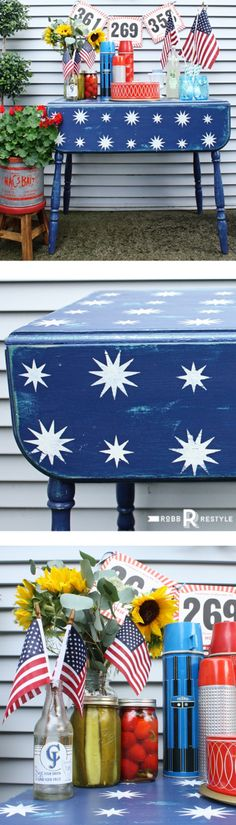 Starry Night Stencil Patriotic Table Makeover - DIY 4th of July Party Decor Ideas
