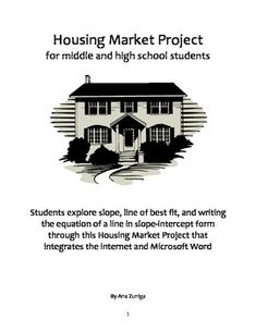 Linear Equations and Line of Best Fit Housing Market Project Classroom Resources, Math Resources, High School Students, Student Work, Mean Median And Mode, Line Of Best Fit, Scatter Plot, Linear Regression, Pythagorean Theorem