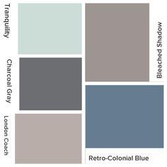 Whole house color scheme. Valspar (lowes). Bleached shadow (kitchen), retro-colonial blue (office), London coach (living room), charcoal gray (interior doors), tranquility (guest bathroom) #valspar #lowes #paint