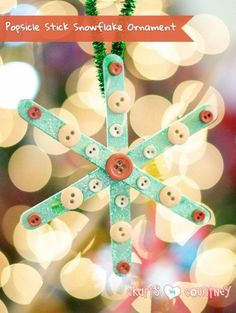 Kids Christmas Craft: Popsicle Snowflake Ornament: 4 Easy-to Make DIY Kid Christmas Ornaments