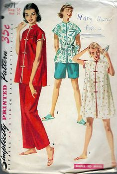 """Vintage 1955 Simplicity 4971 Two Piece Pajama with Short & Long Pants Sleep Coat Size 16 Bust 34"""" by Recycledelic1 on Etsy"""