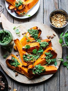 Baked Butternut Squash with Kale & Walnut Pesto