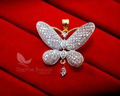 Daphne Designer Butterfly Zircon Pendant Set for Women – Buy Indian Fashion Jewellery Coin Crafts, Fashion Jewellery, Pendant Set, Indian Fashion, Butterfly, Brooch, Detail, Earrings, Stuff To Buy