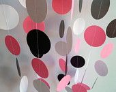 Paper Garland, Pink, Black, White, Birthday, Nursery, Bridal Shower, Party Decoration