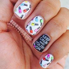 Adorable nail polish-themed mani! Happy Black Friday! #BlackFriday #nails…