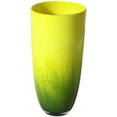 """Brimming with vibrant color and artful appeal, this beautiful design brings eye-catching allure to your console, mantel, or tablescape.  Product: VaseConstruction Material: GlassColor: Yellow and greenDimensions: 15.5"""" H x 7"""" Diameter"""