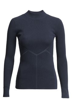 Navy blue long sleeve fitted top | #HMStudioAW14