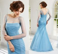 Light Sky Blue A-line Fashion Ruffles Elegant Cheap Sheer Straps Tulle Handmade Mermaid Long Sheer Sleeve Sequin Evening Dress