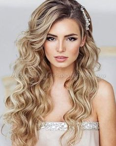 "Wedding Hair Down Soft wedding curls [ ""hair down wedding hairstyles, wedding hairstyles for long hair - hair down we. Wedding Curls, Wedding Hair Down, Wedding Hair And Makeup, Hair Makeup, Bride Hair Down, Bridal Makeup, Bridal Lipstick, Pixie Makeup, Prom Hair Down"