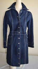 Vtg 70s SAKS Fifth Ave womens thick soft Buckskin leather trench coat jacket 4