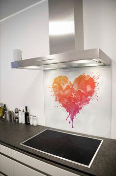 Colour Run Heart Printed Glass Splashback from DIYSplashbacks.co.uk