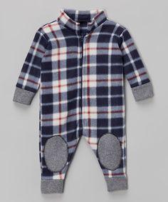 LittleVMen Navy Plaid Romper - Infant | zulily