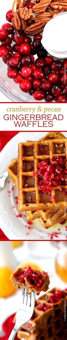 Cranberry Pecan Gingerbread Waffles with Orange Syrup (Gluten Free Option) | Rachel Ray's 5 star recipe made even better! These are Christmas worthy soft and fluffy gingerbread waffles with crazy good syrup and super easy made in the food processor! #waffles #Christmas #cranberry #breakfast