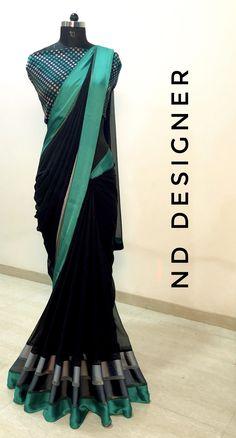 Silk Saree Blouse Designs, Saree Blouse Patterns, Georgette Sarees, Silk Sarees, Sari Dress, Elegant Saree, Bridal Mehndi Designs, Fancy Sarees, Designer Sarees