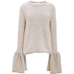 Co     Cashmere Bell Cuff Sweater ($950) ❤ liked on Polyvore featuring tops, sweaters, brown, cashmere sweater, brown cashmere sweater, pink cashmere sweater, long sleeve tops and style&co sweater