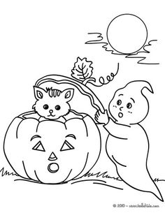 Ghost and kitten in Halloween night coloring pages Pumpkin Coloring Pages, Fall Coloring Pages, Cat Coloring Page, Halloween Coloring Pages, Printable Coloring Pages, Adult Coloring Pages, Coloring Pages For Kids, Coloring Books, Kids Coloring