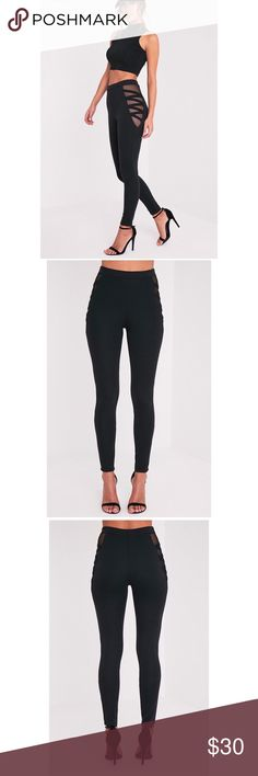Black Mesh Hip Leggings Keep your off-duty style cool but comfortable and indulge in a pair of ultra-soft jersey leggings. Featuring mesh\non the lower leg and an elasticated fit and curve hugging shape, these simple leggings are completely staple. U.S. 8 UK. 12 BRAND: Pretty Little Thing Nasty Gal Pants Leggings