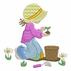 Spring Sunbonnet Sue 7 - 4x4 | What's New | Machine Embroidery Designs | SWAKembroidery.com Ace Points Embroidery