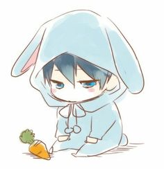 'Free Iwatobi Swim Club Haruka Nanase Chibi' Sticker by xiaokoong Dibujos Anime Chibi, Cute Anime Chibi, Kawaii Chibi, Kawaii Bunny, Draw Chibi, Chibi Boy, Anime Guys, Manga Anime, Anime Art
