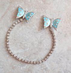 Sterling Sweater Pins Guard Butterfly Rhinestones by cutterstone