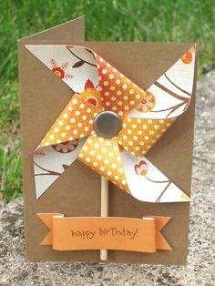 Windmill birthday card.  I like the banner style and the way it is attached at the bottom.