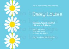 Blue Daisy Birthday Shower Party Invitation by brenabeedesigns, $10.00