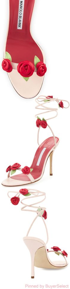 "Manolo Blahnik leather sandal with rosette appliqu. Self-tie ankle-wrap. ""Xiafore"" is made in Italy. Ankle Wrap Sandals, Leather Sandals, Manolo Blahnik, Crazy Shoes, Me Too Shoes, Crystal Shoes, Bride Shoes, Floral Fashion, Prom Accessories"