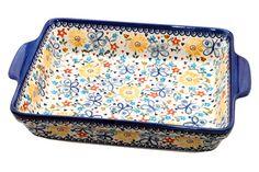 Butterfly Baker w/ Handles - Blue Rose Polish Pottery