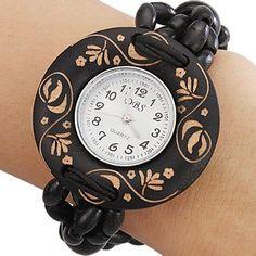 Legno analogico al quarzo orologio da polso da donna (nero): Amazon.it: Orologi