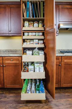 6 Easy Yet Dramatic Ways To Organize Your Kitchen Food Storage Pull Out Shelving Pantry Solutions - Kitchen Pantry Cabinets Designs Deep Pantry Organization, Kitchen Pantry Storage, Kitchen Pantry Design, Pantry Shelving, Kitchen Pantry Cabinets, Kitchen Cabinet Organization, Diy Cabinets, Kitchen Shelves, Kitchen Redo
