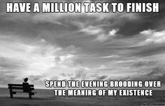 INFJ | Have a million tasks to finish. Spend the evening brooding over the meaning of my existence.