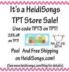 HeidiSongs TPT Sale- and free shipping on HeidiSongs.com!  See blog post for details...