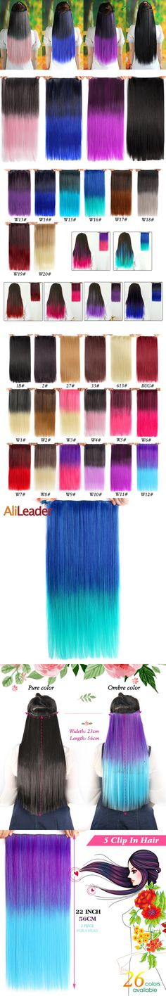 """Alileader Synthetic Hair Clip in Hair Extensions 5 Clips 22"""" 55cm 120g Blue Green Pink Gradient Omber Color Women's Hairpieces"""