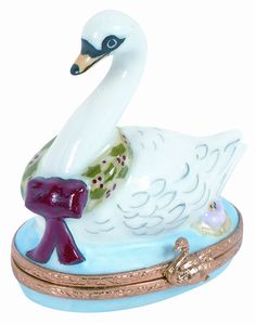 Seven Swans A Swimming Genuine Limoges Box.