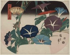 Image result for Japanese paintings and artwork morning glories fading at sunset