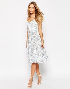 ASOS COLLECTION ASOS Pleated Midi Dress in China Blue Print