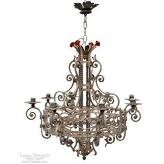 19th Century Country French Wrought Iron Chandelier with Painted Accents